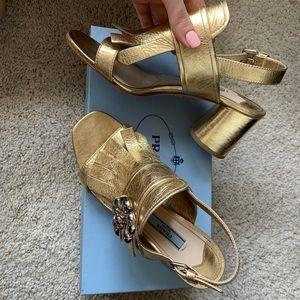 Prada golden heels